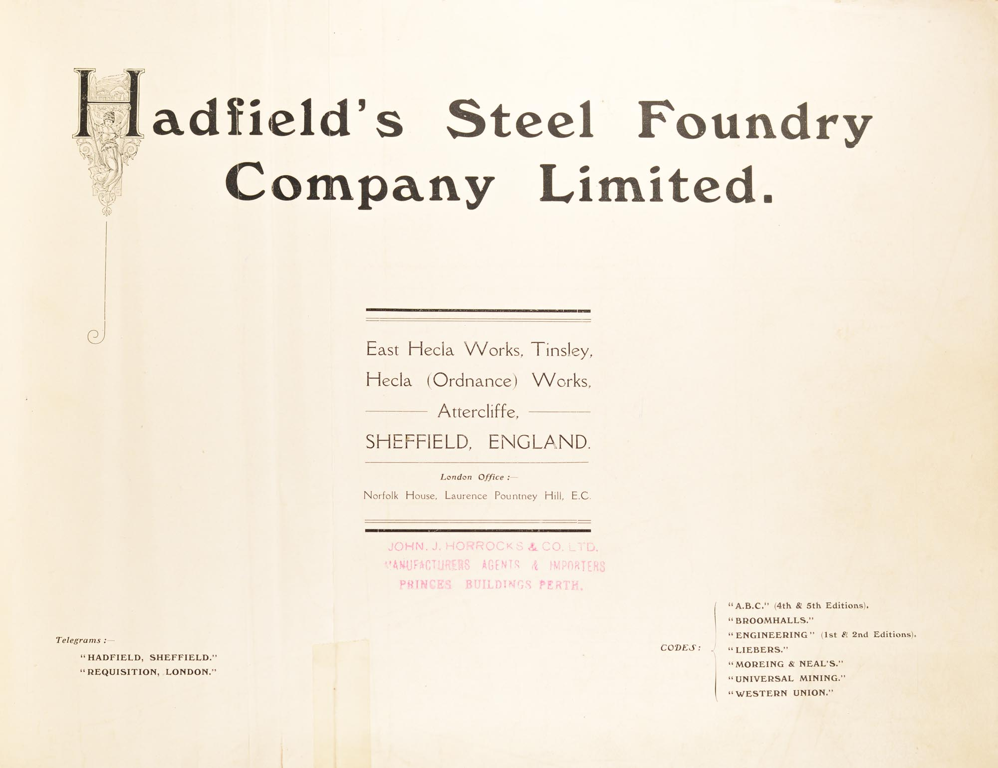 Hadfield's Steel Foundry Company Limited  East Hecla Works, Tinsley, Hecla  Ordnance Works, Attercliffe, Sheffield, England by Trade Catalogue on