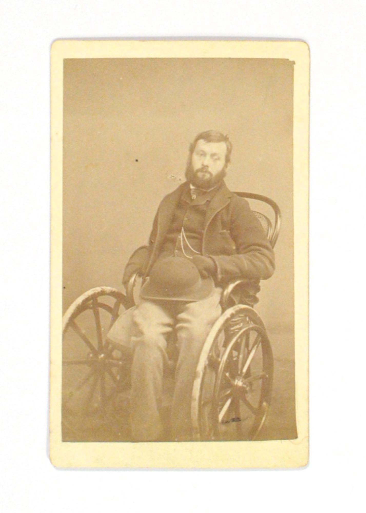 An Albumen Paper Carte De Visite Photograph Of A Relatively Young Man In Wheelchair