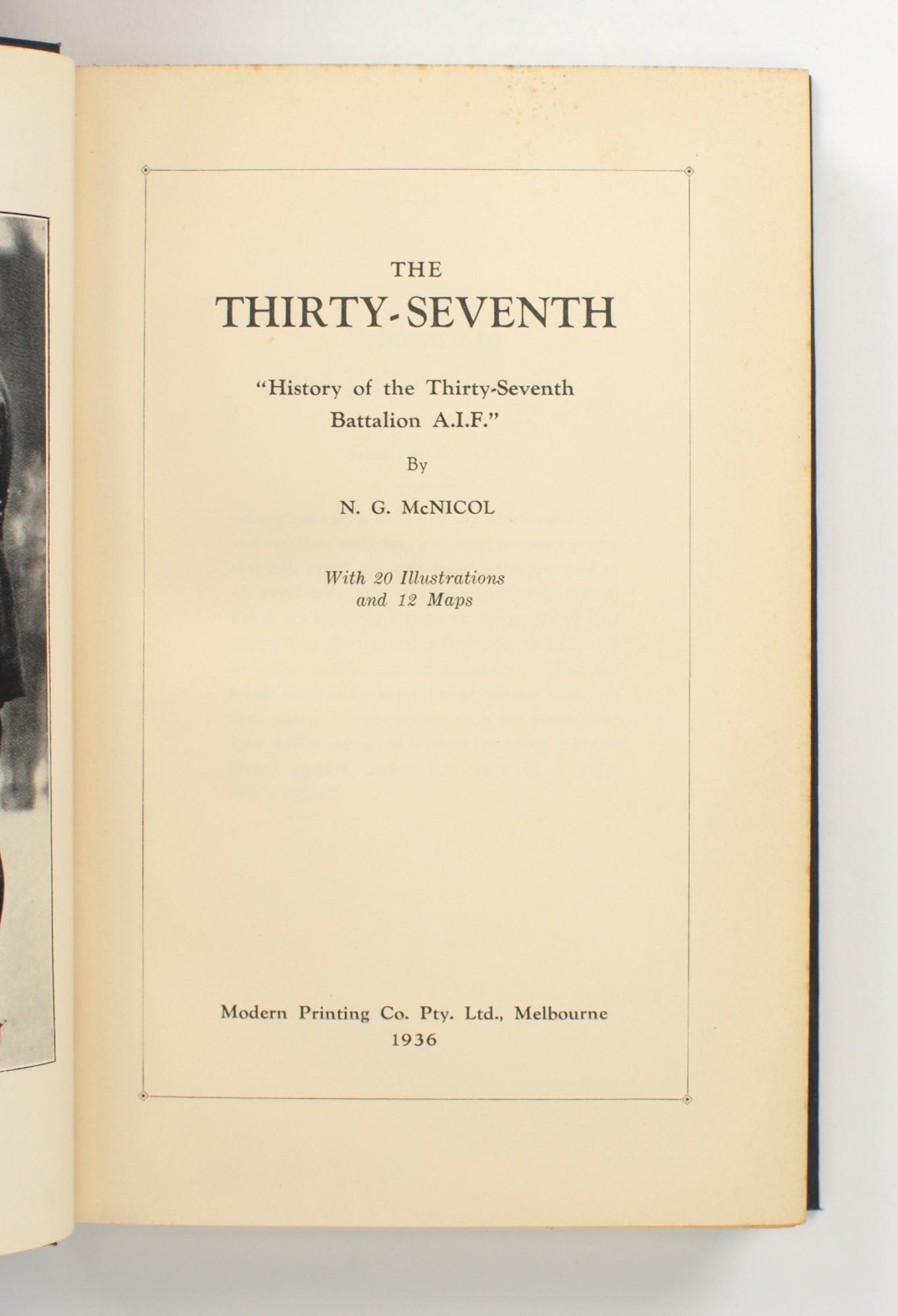 The Thirty Seventh History Of The Thirty Seventh Battalion Aif