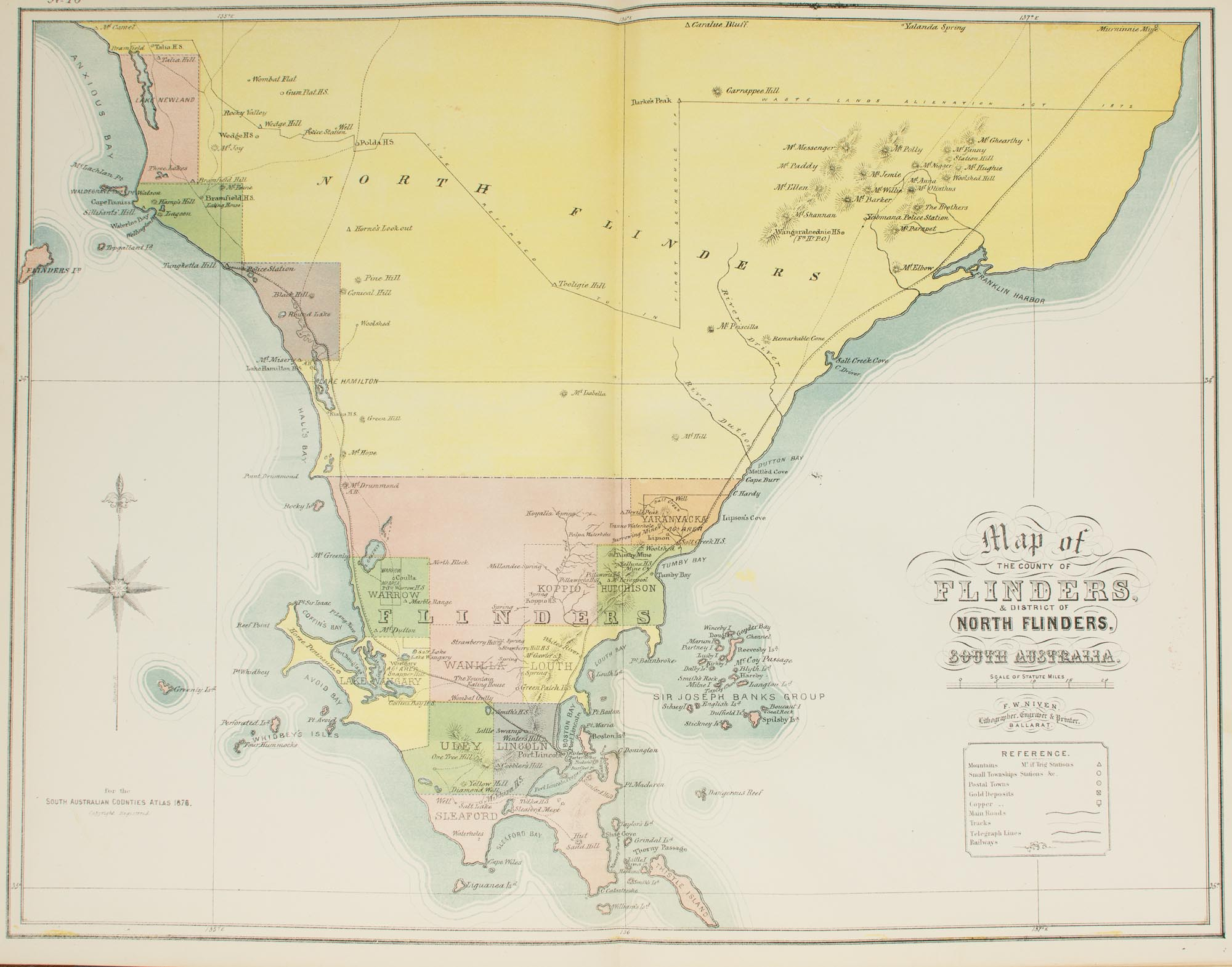 Map Of Australia Roads.The New Counties Hundreds District Atlas Of South Australia And The Northern Territory 1876 Together With A Map Of South Australia Indicating