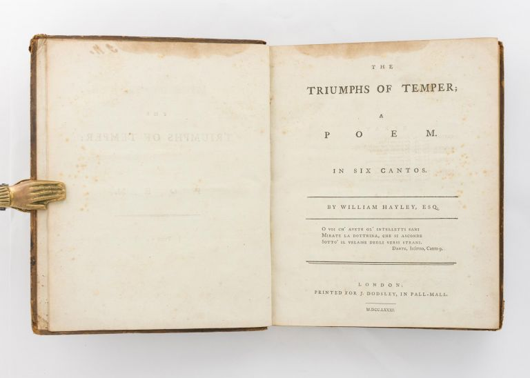 The Triumphs of Temper. A Poem in Six Cantos. William HAYLEY.