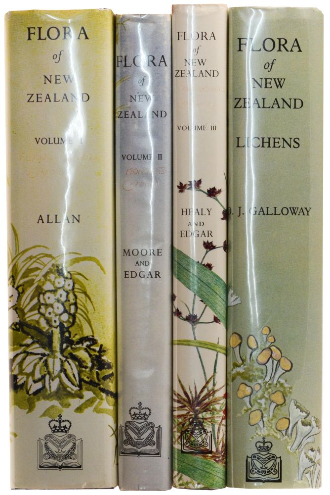 Flora of New Zealand. Volume 1: Indigenous Tracheophyta ... by H.H. ALLAN. Volume 2: Indigenous Tracheophyta. Monocotyledones ... by Lucy MOORE and Elizabeth EDGAR. Volume 3: Adventive Cyperaceous ... by A.J. HEALY and Elizabeth EDGAR. [Volume 4]: Lichens by D.J. GALLOWAY