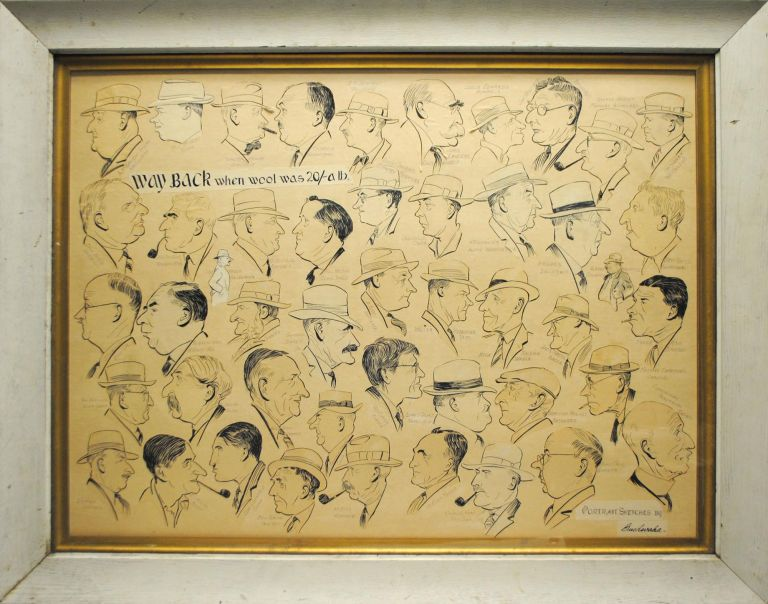 'Way back when wool was 20/- a lb'. A very large collage comprising 47 original individual caricatures of well-known pastoral identities ('Portrait sketches by Bushwaka' - black ink on paper, mounted on heavy card). New South Wales Pastoralists, BUSHWAKA, Frank F. FORSTER.
