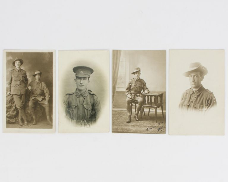 A series of four postcard-format gelatin silver photographs of 3705 Private William Forrest Dixon of the 4th Pioneer Battalion. First World War, William Forrest DIXON.