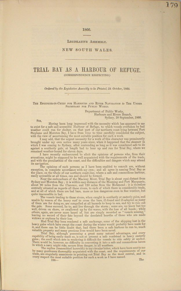 Trial Bay as a Harbour of Refuge. (Correspondence Respecting.)