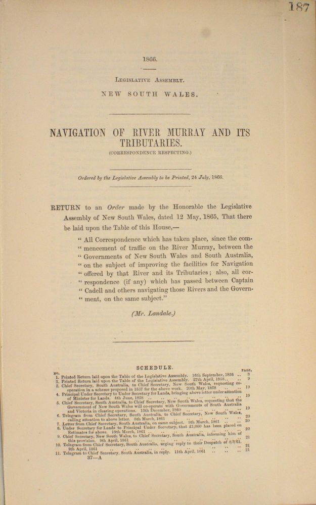 Navigation of River Murray and its Tributaries. (Correspondence Respecting.). Murray River.