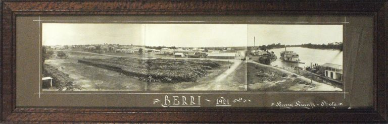 'Berri, 1921'. A vintage sepia-toned panorama (100 x 460 mm) comprising three original gelatin silver photographs of approximately equal size. Berri, Harry KRANTZ.