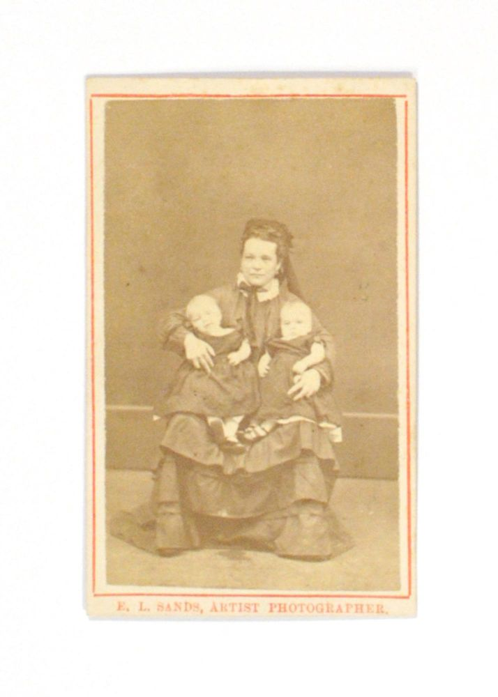 An Albumen Paper Carte De Visite Photograph Of A Young Woman Holding Twin Baby Girls By Portrait Of A Mother Twins On Michael Treloar Antiquarian