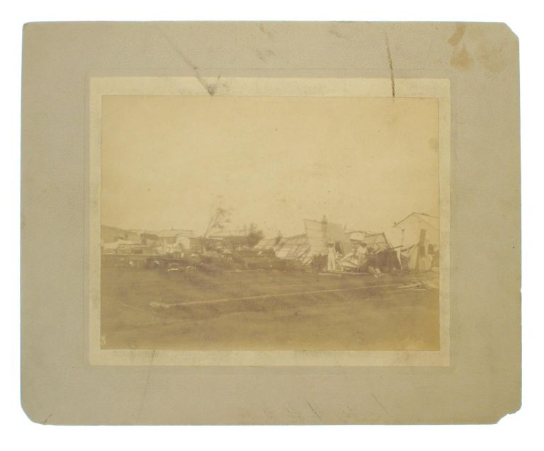 Three large albumen paper photographs, captioned in ink on the verso of each mount 'Palmerston, Port Darwin, NT, destroyed by Tornado, December, 1896'. Darwin, Florenz BLEESER.