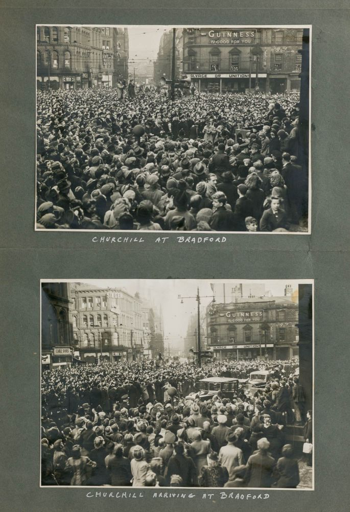 Two photographs of Prime Minister Sir Winston Churchill at the Bradford Town Hall on 6 December 1942. Sir Winston CHURCHILL.