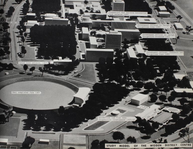 An album of large-format photographs of Canberra at the time of its major expansion in the late 1960s. National Capital Development Commission.