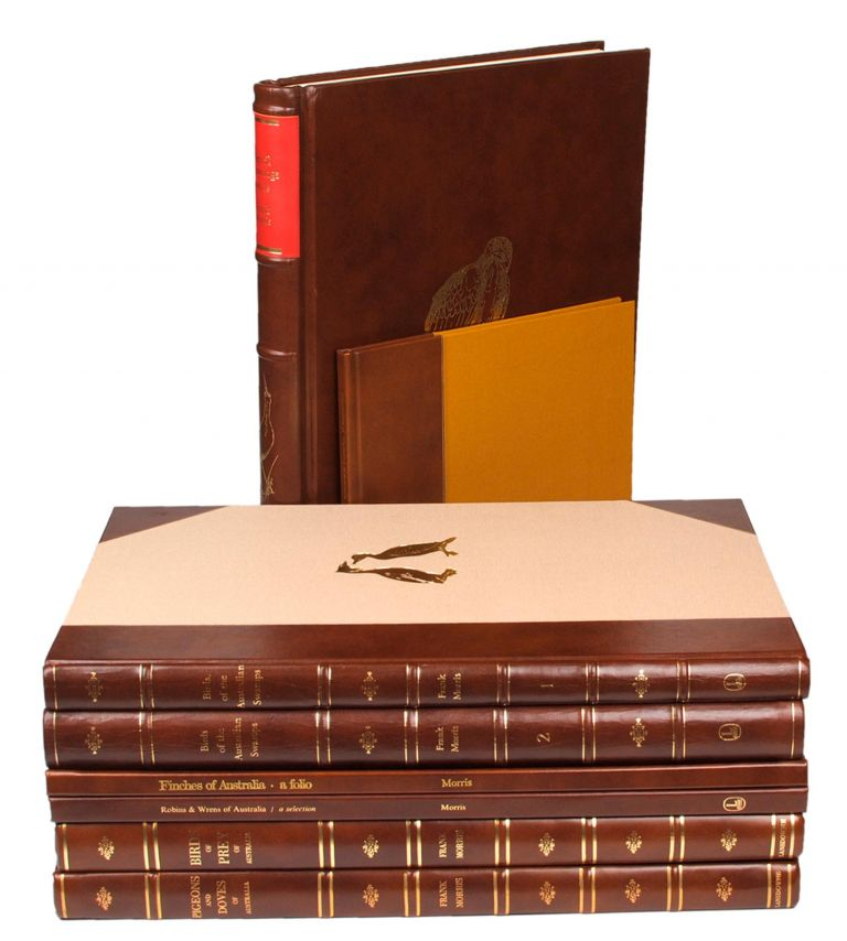 Eight limited edition volumes on Australian birds by Frank Morris are offered as one lot. The collection comprises 'Birds of Prey of Australia' (1973); 'Pigeons and Doves of Australia' (1976); 'Finches of Australia - a Folio' (1976); 'Impressions of Waterfowl of Australia' (1977); 'Birds of the Australian Swamps', Volume 1 [and] Volume 2 (1978); 'Pencil Drawings, 1969-1978' (1978); and 'Robins and Wrens of Australia - a Selection' (1979). Frank T. MORRIS.