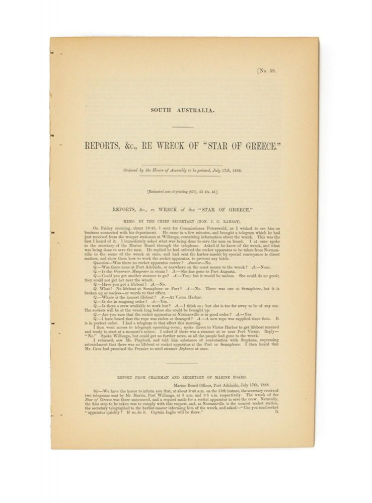Reports, &c., re Wreck of the 'Star of Greece'. [Together with] Report of Select Committee of the House of Assembly on the Wreck of the 'Star of Greece'. 'Star of Greece'.