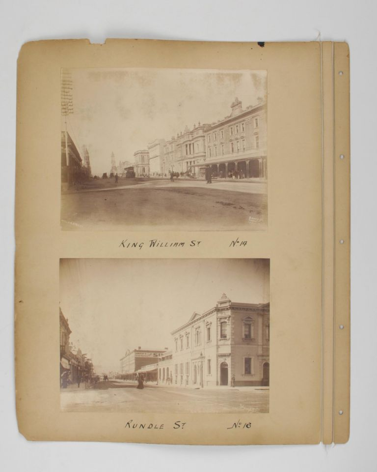 Four original albumen paper photographs mounted on one sheet of card from a loose-leaf album. They are numbered and captioned on the mount - No. 10: General Post Office. No. 12: King William St. No. 14: King William St. No. 16: Rundle St. Adelaide, Alfred STUMP, and Company.