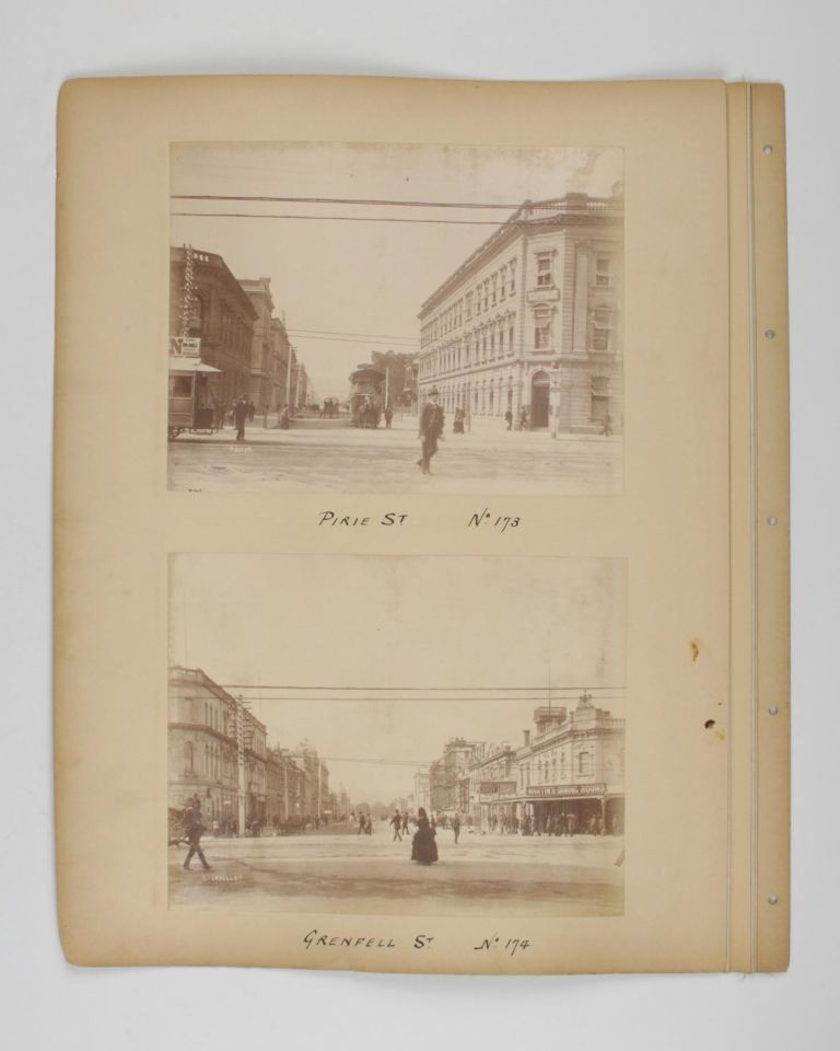 Four original albumen paper photographs mounted on one sheet of card from a loose-leaf album. They are numbered and captioned on the mount - No. 169: Rundle Street. No. 172: Currie Street. No. 173: Pirie St. No. 174: Grenfell St. Adelaide, Alfred STUMP, and Company.