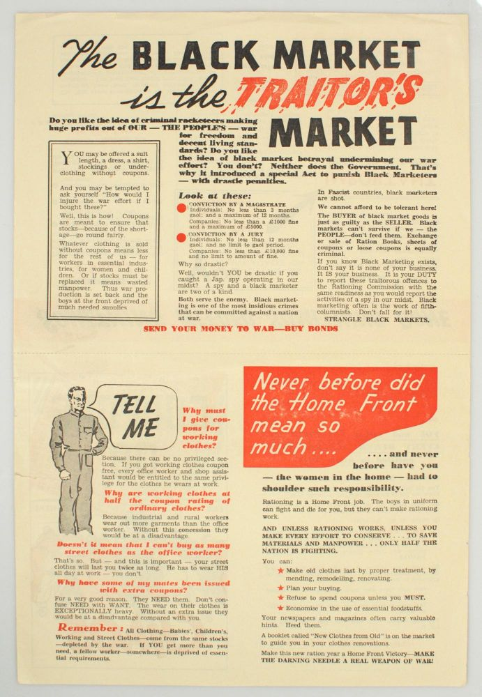 The Black Market is the Traitor's Market  Coupons or Chaos alternative  title on verso by Rationing on Michael Treloar Antiquarian Booksellers