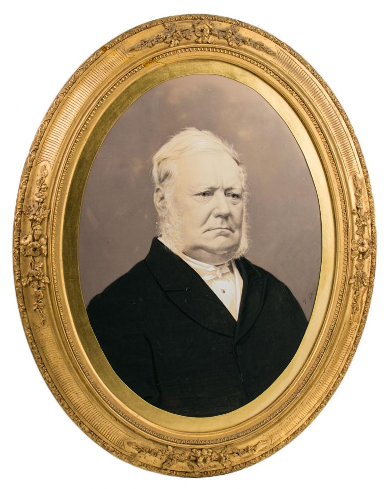 An almost-lifesize vintage portrait photograph of Sir James Hurtle Fisher (1790-1875), 'one of the most important pioneers of South Australia' ('Australian Dictionary of Biography'). Sir James Hurtle FISHER.