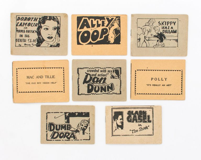 A group of eight pocket-size American pornographic comic books, in circulation from the 1920s-60s. 'Tijuana Bibles'.