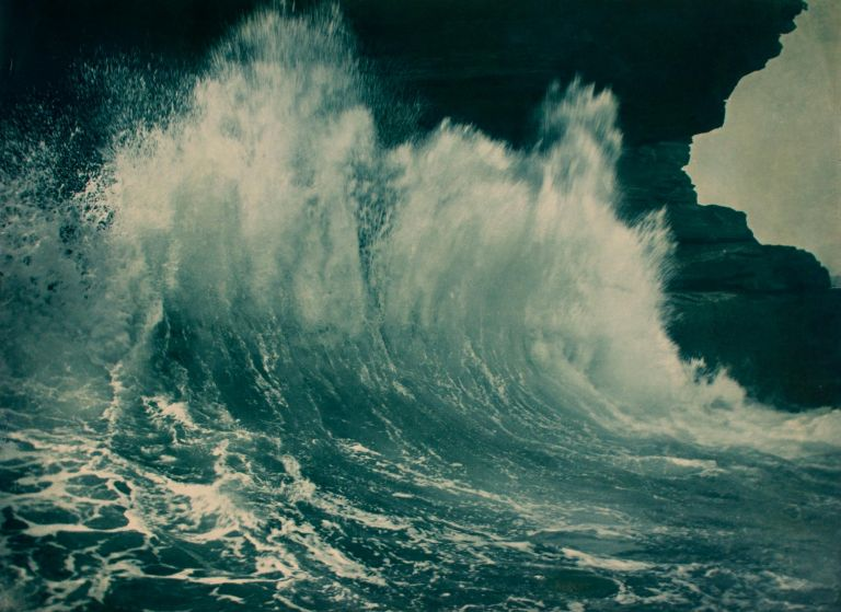 'The Last Break' [Sydney, circa 1912]. A vintage blue-toned carbon print, unmounted as originally produced. Frank HURLEY, Australia.