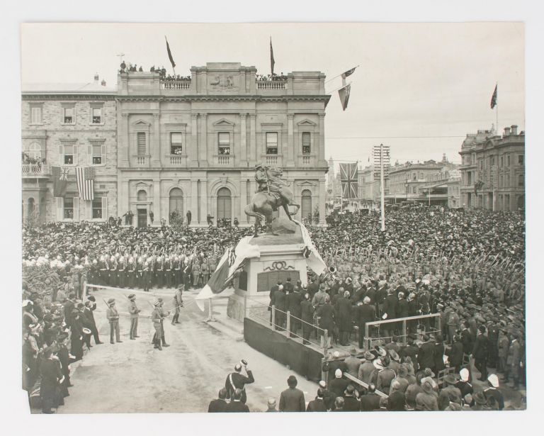Three large vintage gelatin silver photographs of the unveiling of the South African War Memorial, at the corner of North Terrace and King William Street, Adelaide (then known as the National War Memorial) on 6 June 1904. Boer War, John GAZARD.