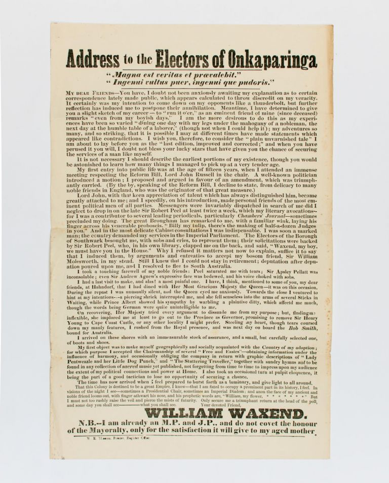 Address to the Electors of Onkaparinga. William TOWNSEND, William WAXEND.