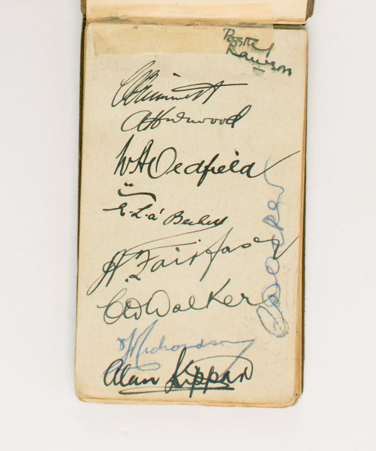 One leaf in a small autograph album (leaf size 80 × 138 mm) signed in ink (on the recto only) by seven members of the Australian squad selected to tour England in 1930. Cricket, 1930 Australia.
