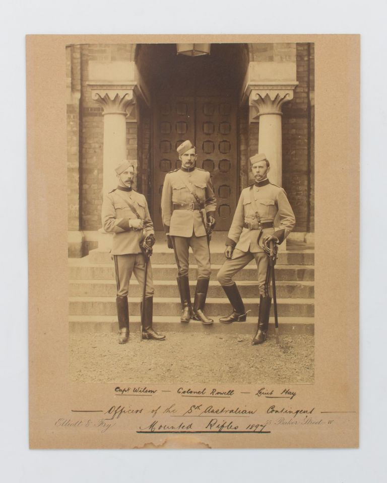 'Officers of the Sth Australian Contingent, Mounted Rifles, 1897'. An impressive portrait photograph of three officers in London for Queen Victoria's Diamond Jubilee celebrations. Boer War.