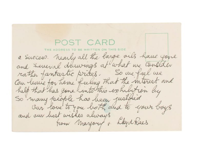 An autograph postcard signed by Lloyd Rees (both sides of a plain postcard with the letterhead of the Sesame Pioneer and Lyceum Club, Grosvenor St, London, 17 September 1973). Lloyd REES.
