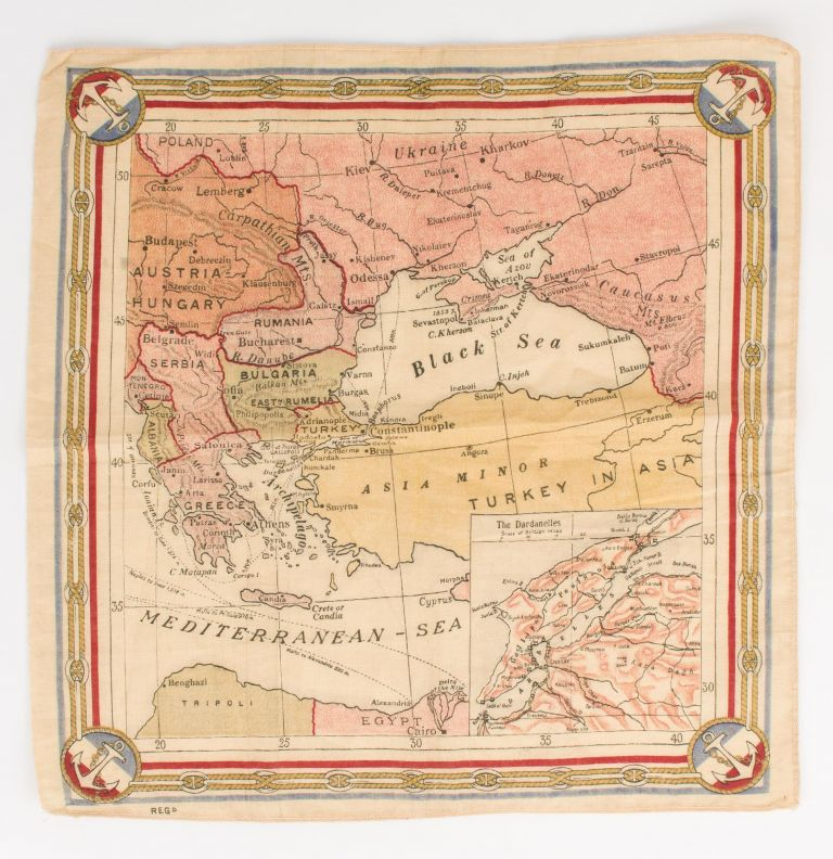 A souvenir handkerchief featuring a map centred on Turkey and the Black Sea. The Dardanelles.