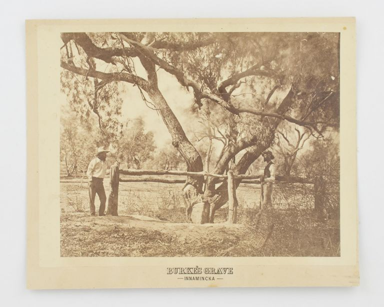 'Burke's Grave, Innamincka'. A vintage sepia-toned gelatin silver photograph (image size 208 × 278 mm) on the original printed card mount (230 × 285 mm). Burke, Wills Expedition.
