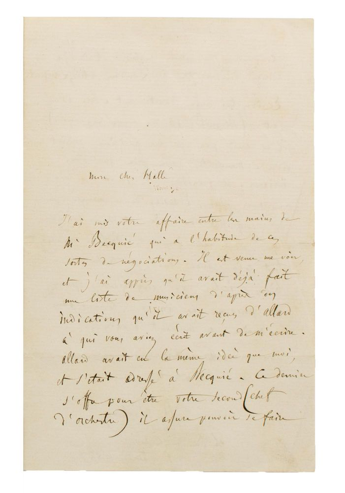 An autograph letter, in French, signed by Berlioz to his friend Charles Hallé, the German conductor and pianist, dated 1 February 1857, regarding the recruitment of French musicians for the important Manchester Art Treasures Exhibition (May to October 1857). Hector BERLIOZ.