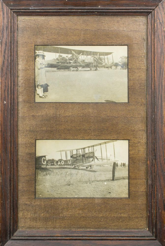 Two original vintage gelatin silver photographs of the Smith brothers' Vickers Vimy aircraft at Northfield airfield, near Adelaide, South Australia, on 23 March 1920, during the celebratory tour after their historic flight from England to Australia in 1919. Captain Sir Ross SMITH, Lieutenant Sir Keith.