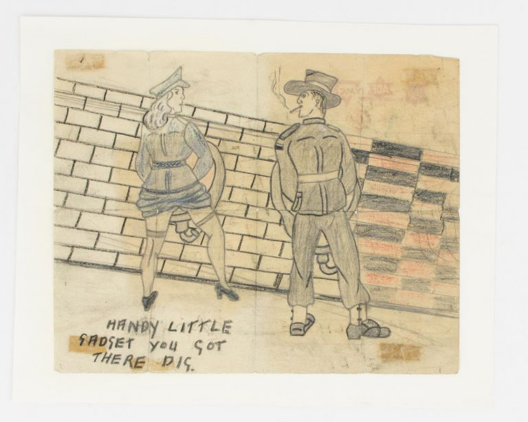 A piece of original Australian 'artwork' - an example of genuine toilet humour from the Second World War. Wartime Cartoon Artwork.