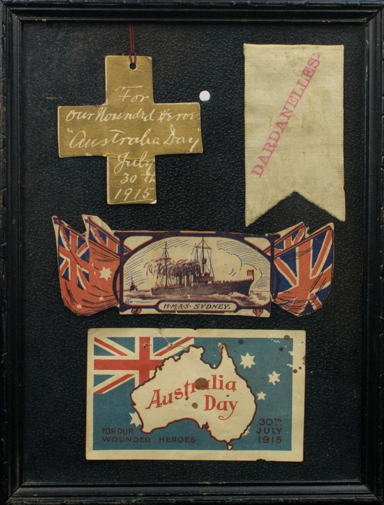 A collage of souvenirs from the first 'Australia Day' celebrations, held on 30 July 1915. 30 July 1915 Australia Day.