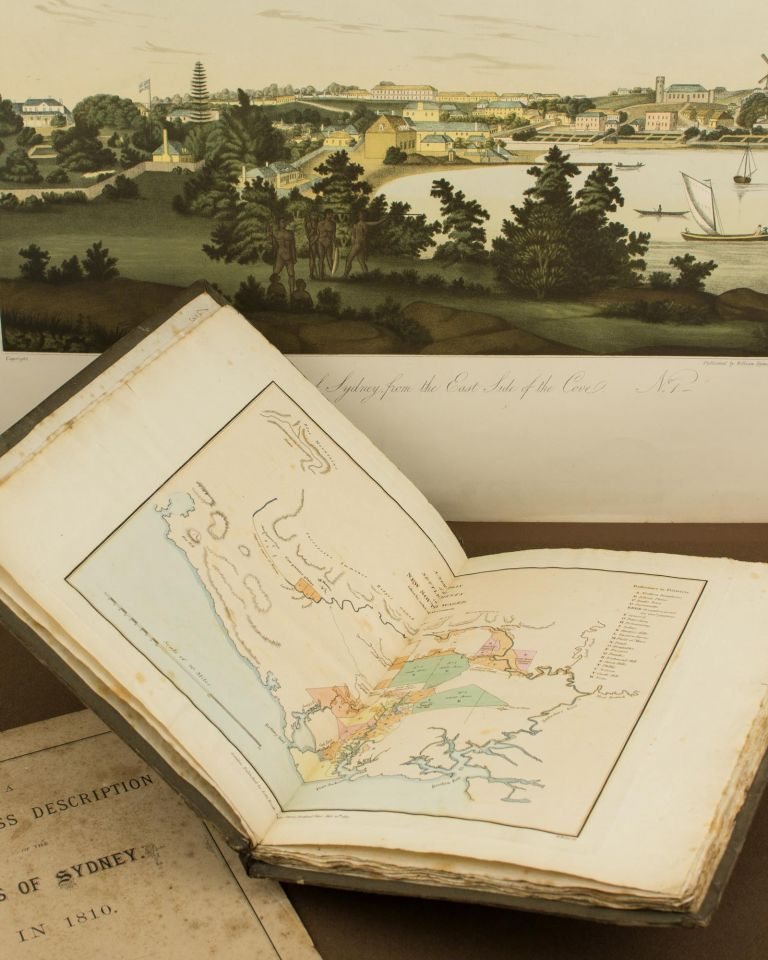 The Present Picture of New South Wales; illustrated with Four Large Coloured Views, from Drawings taken on the Spot, of Sydney, the Seat of Government, with a Plan of the Colony, taken from actual Survey by Public Authority .. with Hints for the Further Improvement of the Settlement. David Dickinson MANN.