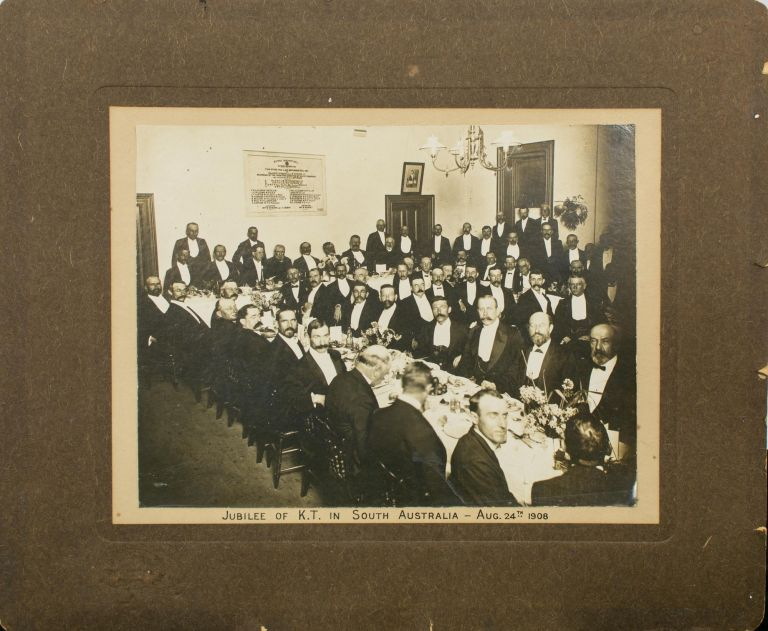 'Jubilee of K[nights] T[emplar] in South Australia - Aug. 24th 1908' (caption on a vintage photograph of the celebratory dinner). Freemasonry.
