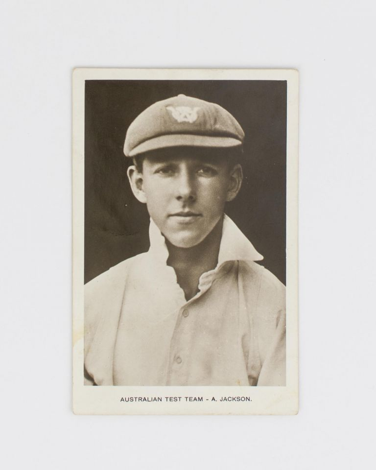 """A vintage postcard-format gelatin silver photograph inscribed in ink on the verso 'To Olive with Love from """"Archie""""'. Cricket, Archibald JACKSON, 'Archie', New South Wales and Australia."""