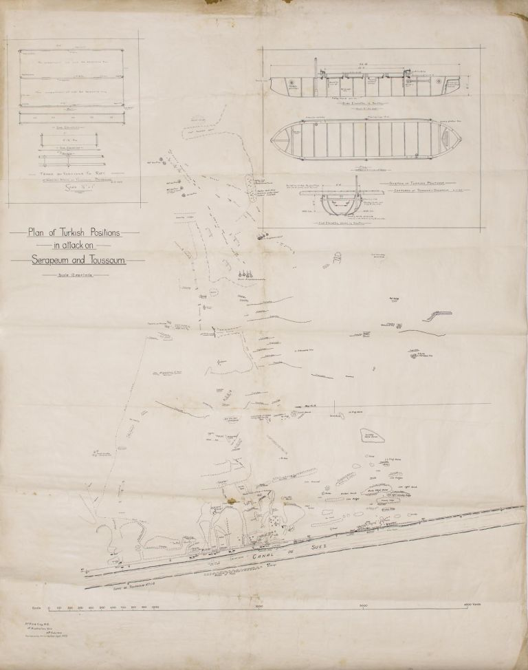 'Plan of Turkish Positions in attack on Serapeum and Toussoum'. A large-scale map ('12 ins = 1 mile') printed on paper and mounted on linen (overall dimensions 1120 × 885 mm), produced by '3rd Field Coy. A.E. 1st Australian Div. 15th Feb. 1915. Reproduced by the Survey Dept. Egypt. (683)'