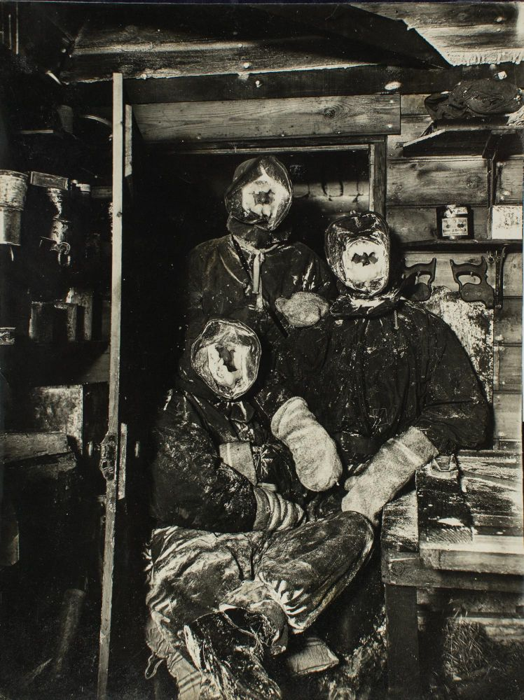 Three expeditioners with 'masks of ice'. A vintage gelatin silver photograph (207 × 156 mm), from the Australasian Antarctic Expedition, 1911-1914. Australasian Antarctic Expedition, Frank HURLEY.