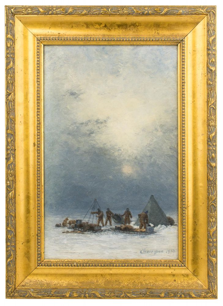 'Erecting Tents in a Blizzard'. An evocative original oil painting from Douglas Mawson's Australasian Antarctic Expedition, 1911-1914, given to him and his wife Paquita (née Francisca Adriana Delprat) as a present for their wedding on 31 March 1914 at Holy Trinity Church in the Melbourne suburb of Balaclava. Australasian Antarctic Expedition, Charles HARRISSON.