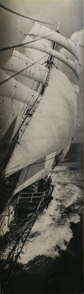 SY 'Discovery' under full sail, taken from the bowsprit. BANZARE, Frank HURLEY.