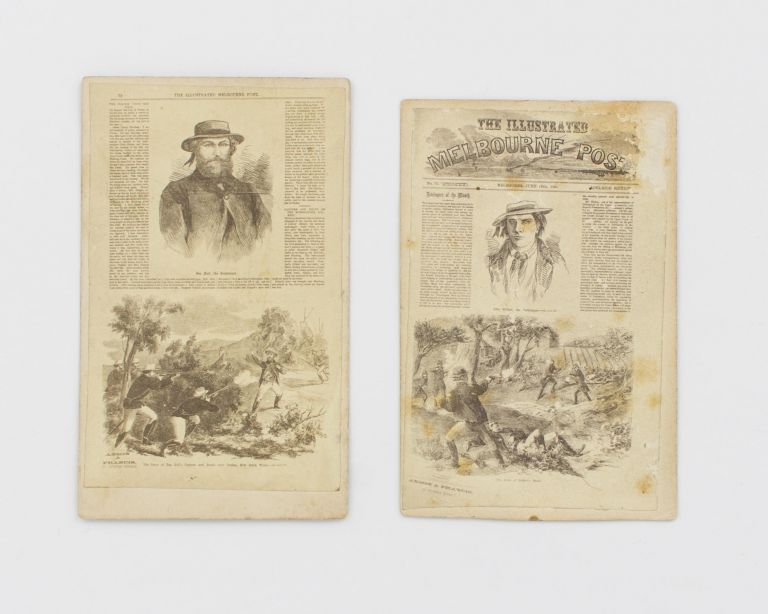 Two cartes de visite reproducing pages from the Adelaide edition of the 'Illustrated Melbourne Post'. Bushrangers.