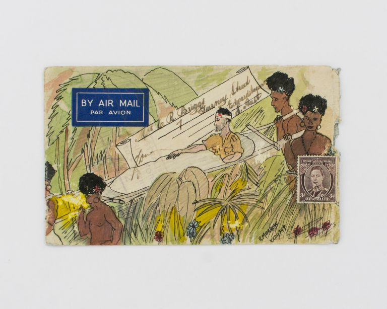 A standard letter-size envelope apparently sent by an Australian soldier on active service in New Guinea during the Second World War. New Guinea Stretcher Bearers.