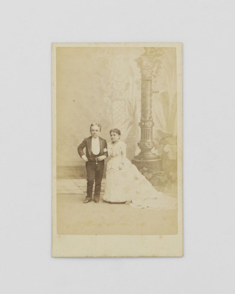 A carte de visite of Count Primo Magri (1849-1920), an Italian dwarf, and his wife, Lavinia Warren (1842-1919), also a dwarf, and the widow of fellow-dwarf General Tom Thumb. Dwarfs.