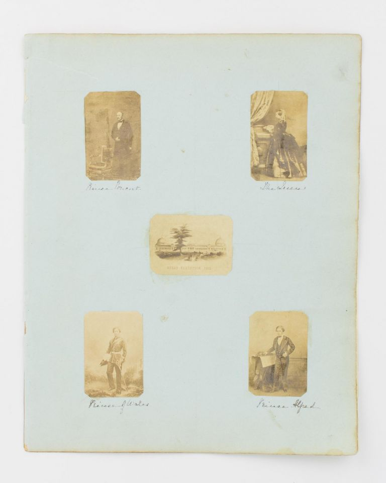 Four small vintage portrait photographs of Queen Victoria, her husband Albert, Prince Consort, and two of their sons, Albert Edward, Prince of Wales, and Prince Alfred, in London in 1860. British Royalty, John Jabez MAYALL.