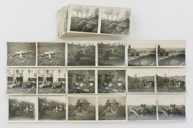 A collection of 100 French stereophotographs of the First World War, painting an intimate (and grim) picture of daily life of the 'poilus' in the trenches of the Western Front. First World War.