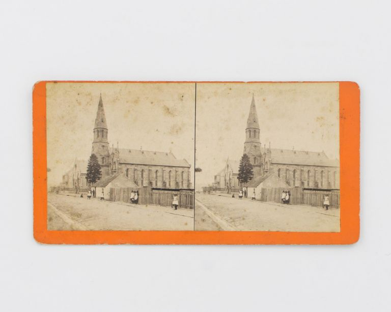 A stereophotograph of an unidentified streetscape with a large church, captioned on the rear of the mount 'Unrivalled Stereoscopic Photographs of New South Wales .. Photographed and Published by W.F. Hall, 91 Phillip Street, Sydney'. William F. HALL.
