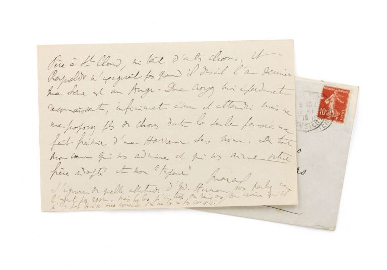 An autograph letter signed 'Marcel' to Maria Madrazo, sister of composer Reynaldo Hahn, Proust's intimate friend and sometime lover. Marcel PROUST, French novelist.