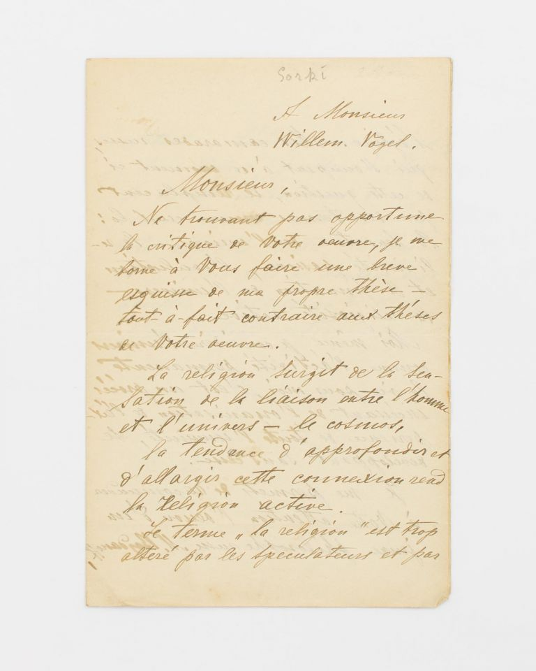 A letter (in French) signed by Maksim Gorki ('M. Gorcy') to one Willem Vogel, discussing his views on religion. Maksim GORKI, Russian novelist.