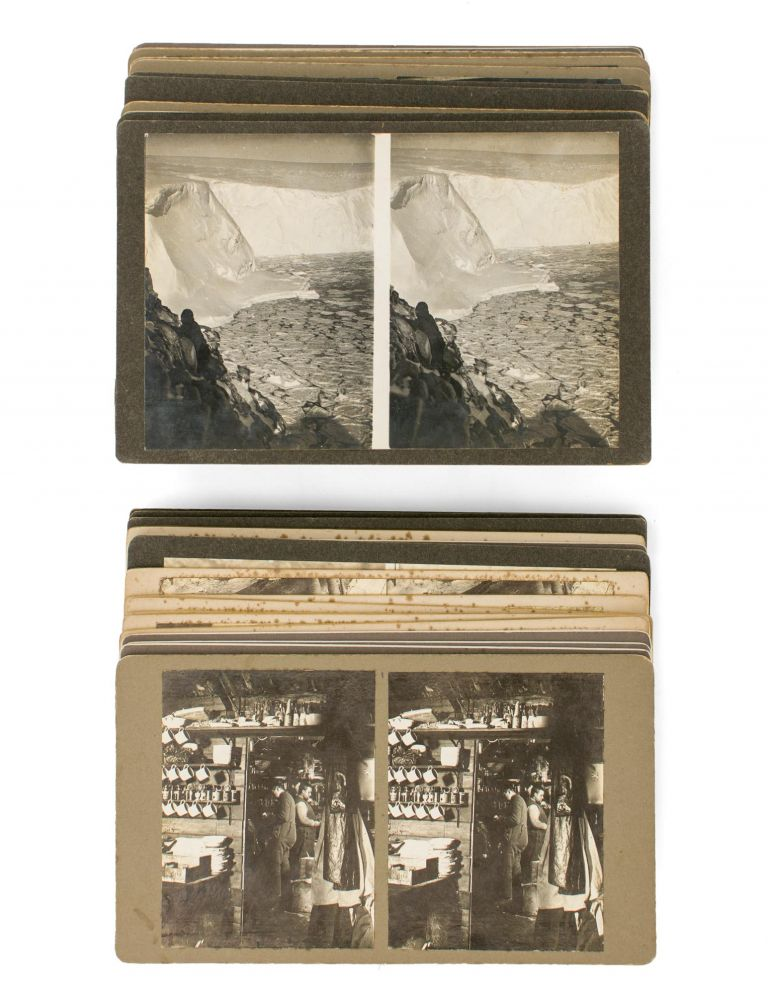 A collection of 40 stereophotographs from the expedition, mainly taken in the vicinity of the Winter Quarters at Cape Denison in 1912, with some images relating to the voyage south from Hobart, via Macquarie Island. Australasian Antarctic Expedition, Frank HURLEY.